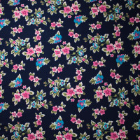 Pink an Turquoise on Navy Blue Wildflower Floral Double Brushed Poly Spandex Print Fabric By The Yard - Wide shot