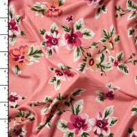 Magenta and Peach on Coral Wildflower Floral Double Brushed Poly Spandex Print Fabric By The Yard