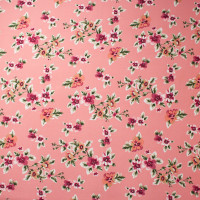 Magenta and Peach on Coral Wildflower Floral Double Brushed Poly Spandex Print Fabric By The Yard - Wide shot
