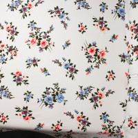 Coral and Baby Blue on White Chalk Floral Double Brushed Poly Spandex Print Fabric By The Yard - Wide shot