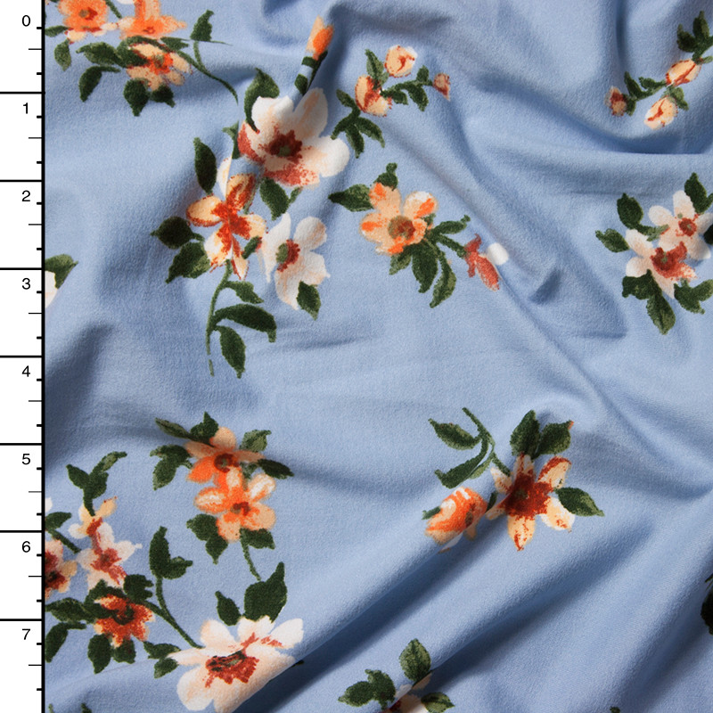 Orange and White on Light Blue Chalk Floral Double Brushed Poly Spandex Print Fabric By The Yard