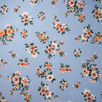 Orange and White on Light Blue Chalk Floral Double Brushed Poly Spandex Print Fabric By The Yard - Wide shot