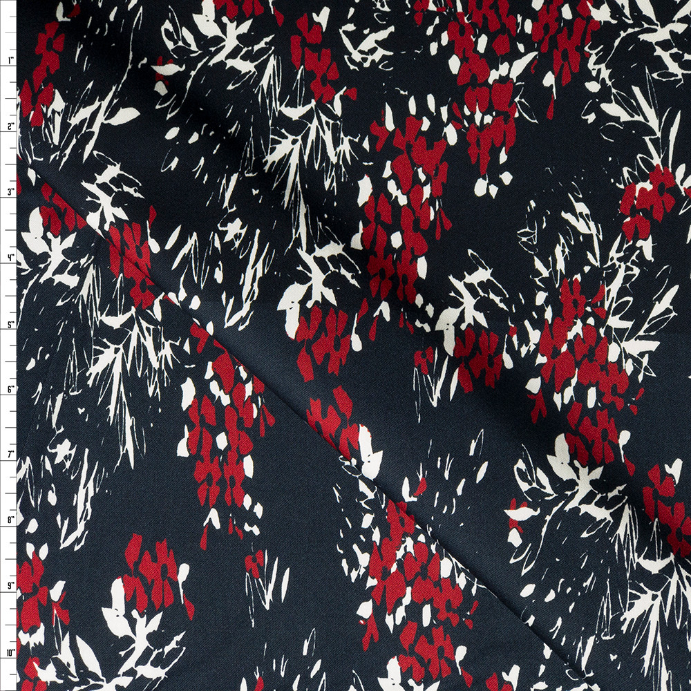 Red and White Floral on Dark Navy Stretch Sateen from '7 for all Mankind' Fabric By The Yard