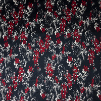 Red and White Floral on Dark Navy Stretch Sateen from '7 for all Mankind' Fabric By The Yard - Wide shot