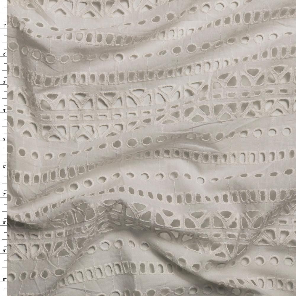 Warm White Tribal Stripe Cotton Eyelet Fabric By The Yard