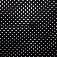 White on Black Polka Dots Double Brushed Poly Spandex Fabric By The Yard - Wide shot