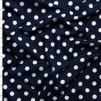 White on Navy Blue Polka Dots Double Brushed Poly Spandex Fabric By The Yard
