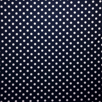 White on Navy Blue Polka Dots Double Brushed Poly Spandex Fabric By The Yard - Wide shot