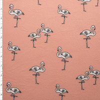 Black and White Hand Drawn Flamingos on Blush Pink Double Brushed Poly Spandex Fabric By The Yard