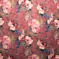 Pink and Mauve Grunge Rose Floral Double Brushed Poly Spandex Fabric By The Yard - Wide shot