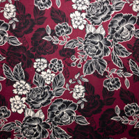 Black and Offwhite Line Art Roses on Wine Double Brushed Poly Spandex Fabric By The Yard - Wide shot