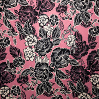Black and Offwhite Line Art Roses on Pink Double Brushed Poly Spandex Fabric By The Yard - Wide shot