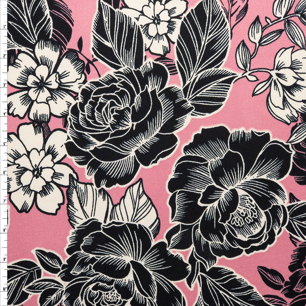 Black and Offwhite Line Art Roses on Pink Double Brushed Poly Spandex Fabric By The Yard