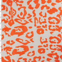 Neon Orange on White Stretch Twill by '7 for all Mankind' Fabric By The Yard