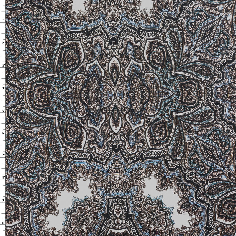 Black, White, Mint, and Periwinkle Paisley Stretch Cotton Sateen from '7 for all Mankind' Fabric By The Yard