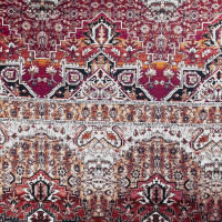 Burgundy and Offwhite Floral Ornate Stretch Cotton Sateen from '7 for all Mankind' Fabric By The Yard - Wide shot