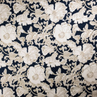 Tan and Offwhite Sketchbook floral on Navy Stretch Cotton Sateen by '7 for all Mankind Fabric By The Yard - Wide shot