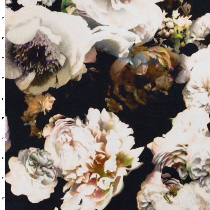 Dreamscape Floral on Black Stretch Cotton Sateen by '7 for all Mankind Fabric By The Yard