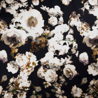 Dreamscape Floral on Black Stretch Cotton Sateen by '7 for all Mankind Fabric By The Yard - Wide shot