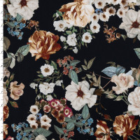 Masterpiece Floral on Black Stretch Cotton Sateen by '7 for all Mankind Fabric By The Yard