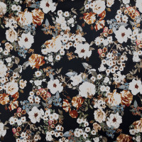 Masterpiece Floral on Black Stretch Cotton Sateen by '7 for all Mankind Fabric By The Yard - Wide shot