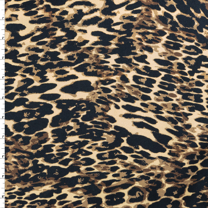 Paint Daub Cheetah Print on Stretch Cotton Sateen by '7 for all Mankind Fabric By The Yard