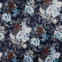 Baby Blue and Wine Victorian Floral on Navy Blue Stretch Cotton Sateen by '7 for all Mankind Fabric By The Yard - Wide shot