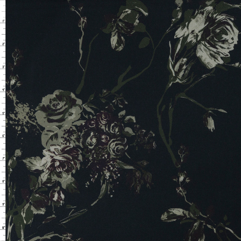Olive and Brown Dark Forest Floral on Black Stretch Cotton Sateen by '7 for all Mankind Fabric By The Yard