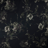 Olive and Brown Dark Forest Floral on Black Stretch Cotton Sateen by '7 for all Mankind Fabric By The Yard - Wide shot