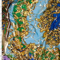 Gold, Sky Blue, Green, and Purple Fancy Tiled Stretch Metallic ITY Fabric By The Yard