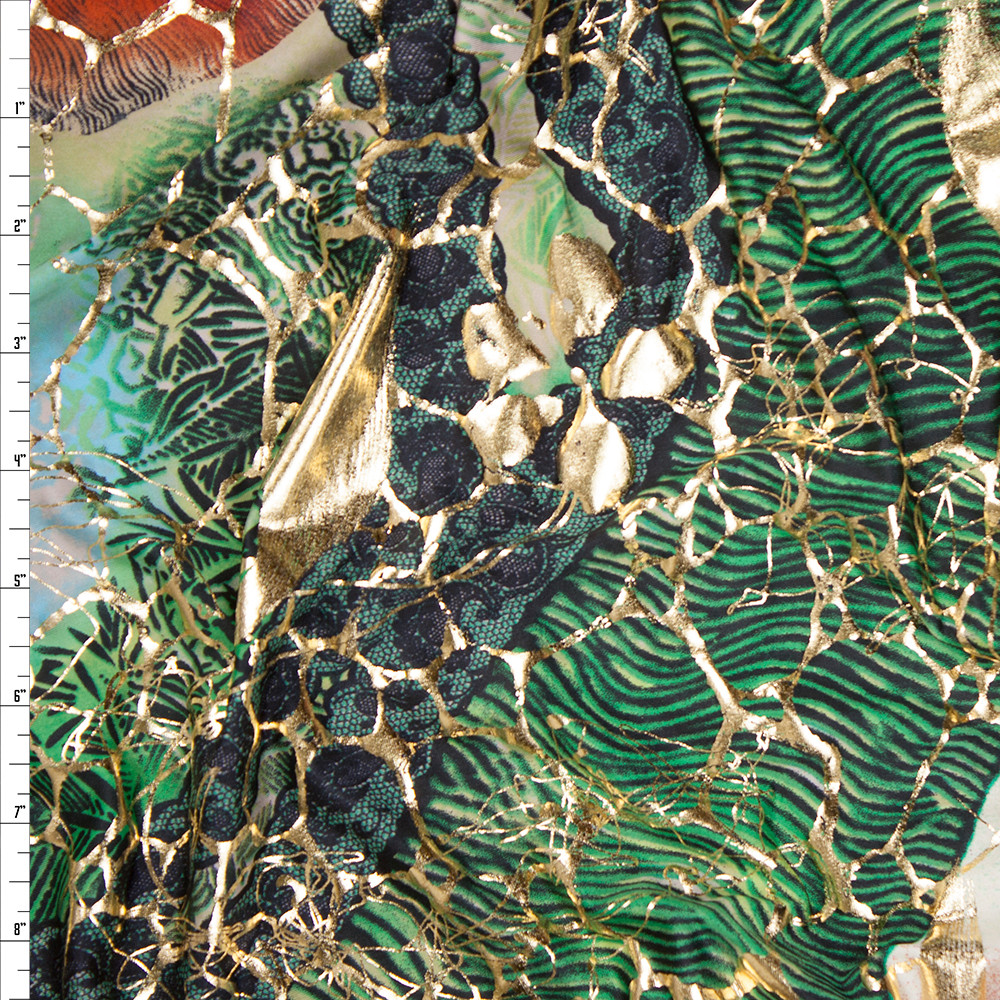 Gold, Teal, Brown, and Green Tribal Swirls Stretch Metallic ITY Fabric By The Yard