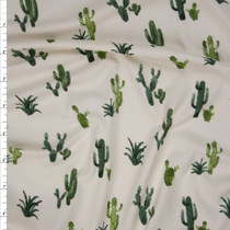 Green Cactus on Offwhite Double Brushed Poly Spandex Fabric By The Yard