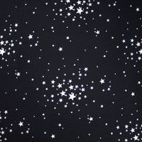 White Stars on Black Double Brushed Poly Spandex Fabric By The Yard - Wide shot