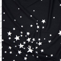White Stars on Black Double Brushed Poly Spandex Fabric By The Yard