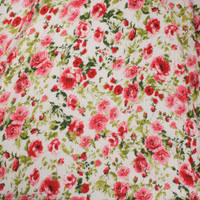 Pink and Green Rose Floral on Offwhite Rayon Gauze Fabric By The Yard - Wide shot