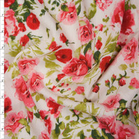 Pink and Green Rose Floral on Offwhite Rayon Gauze Fabric By The Yard