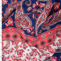 Coral, Navy, and Offwhite Paisley Floral Stripe Rayon Gauze Fabric By The Yard