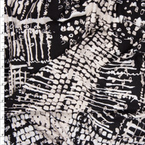 Black, White, and Ivory Abstract Designer Print Stretch Rayon Jersey Knit Fabric By The Yard