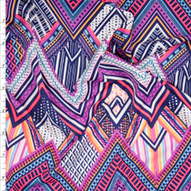 Neon Pink and Purple Layered Chevron Nylon/Lycra Fabric By The Yard