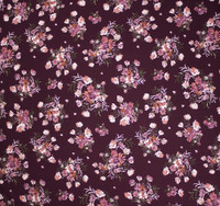 Tan and Mauve on Plum Floral Double Brushed Poly Spandex Fabric By The Yard - Wide shot