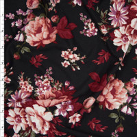 Red, Dusty Rose, and Sage on Black Floral Double Brushed Poly Spandex Fabric By The Yard
