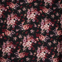 Red, Dusty Rose, and Sage on Black Floral Double Brushed Poly Spandex Fabric By The Yard - Wide shot