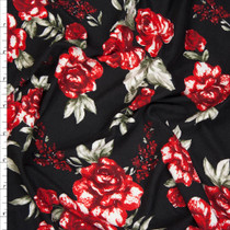 Red, Wine, and Sage on Black Rose Floral Double Brushed Poly Spandex Fabric By The Yard