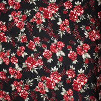 Red, Wine, and Sage on Black Rose Floral Double Brushed Poly Spandex Fabric By The Yard - Wide shot
