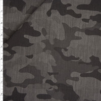 Black and Dark Grey Camouflage Print Midweight Stretch Denim from 'Hudson Jeans' Fabric By The Yard