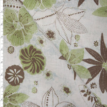 Brown, Sage, and Offwhite Retro Floral Midweight 100% Linen Fabric By The Yard