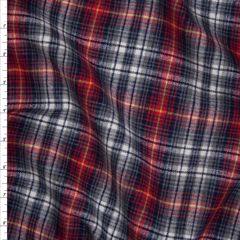 Red, Grey, and Blue Plaid Midweight Flannel Fabric By The Yard