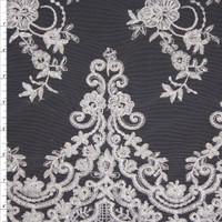 White Scrolling Floral Beaded Bridal Lace Fabric By The Yard