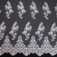 White Scrolling Floral Beaded Bridal Lace Fabric By The Yard - Wide shot