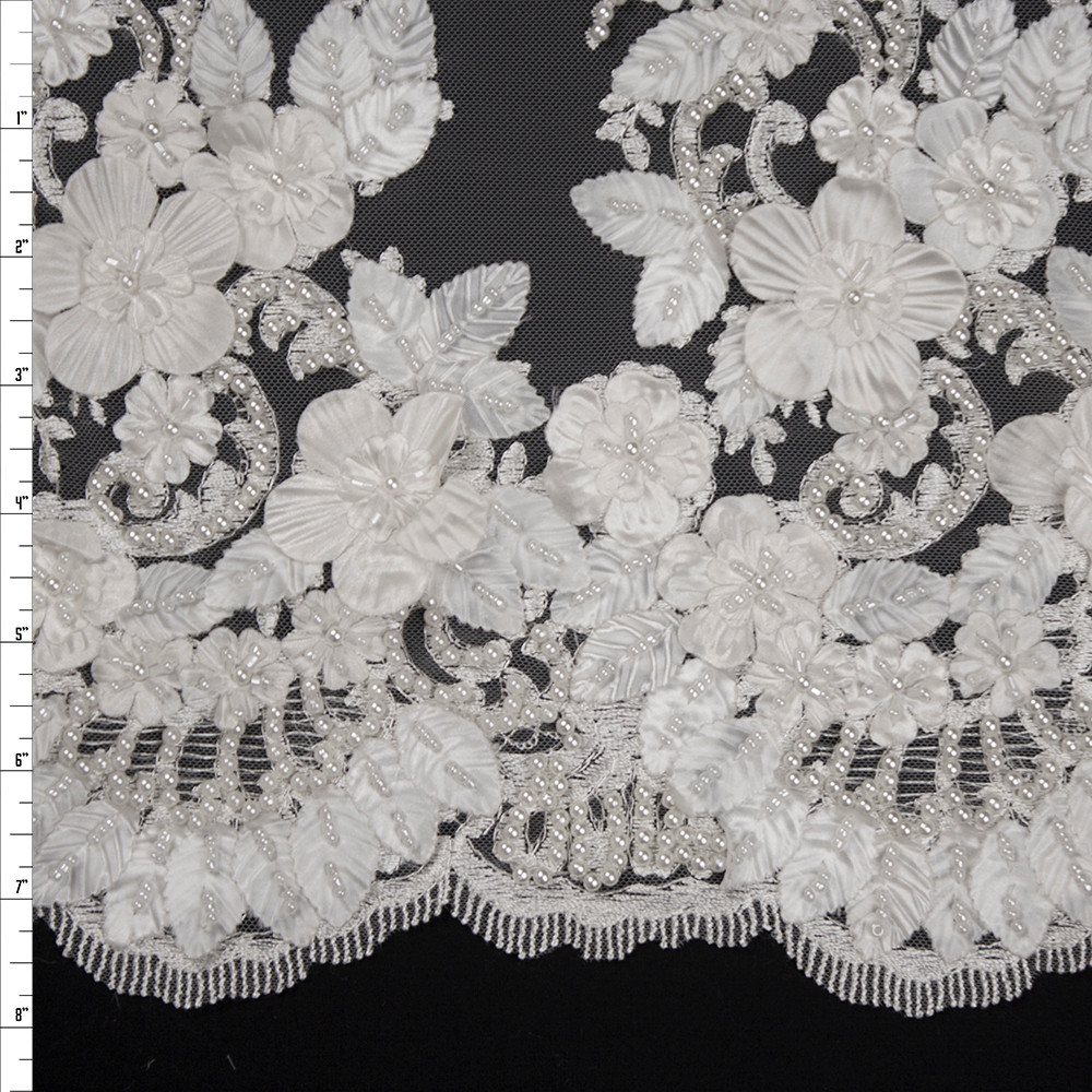 White Leaves and Flowers Beaded Bridal Lace Fabric By The Yard